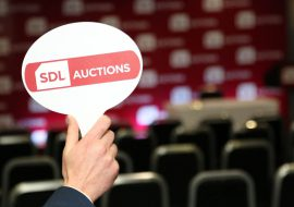 SDL Auctions branded auction paddle